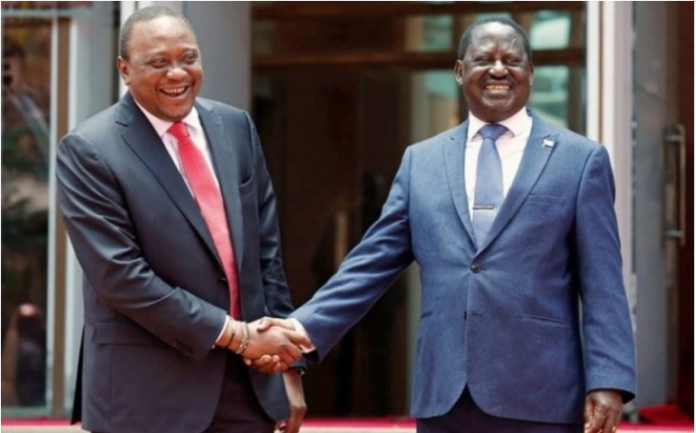 President Uhuru Kenyatta, left, and ODM leader Raila Odinga during the March 2018 handshake deal. The two have been invited to issue an address in the US